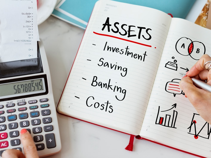 Adding financial assets on a calculator